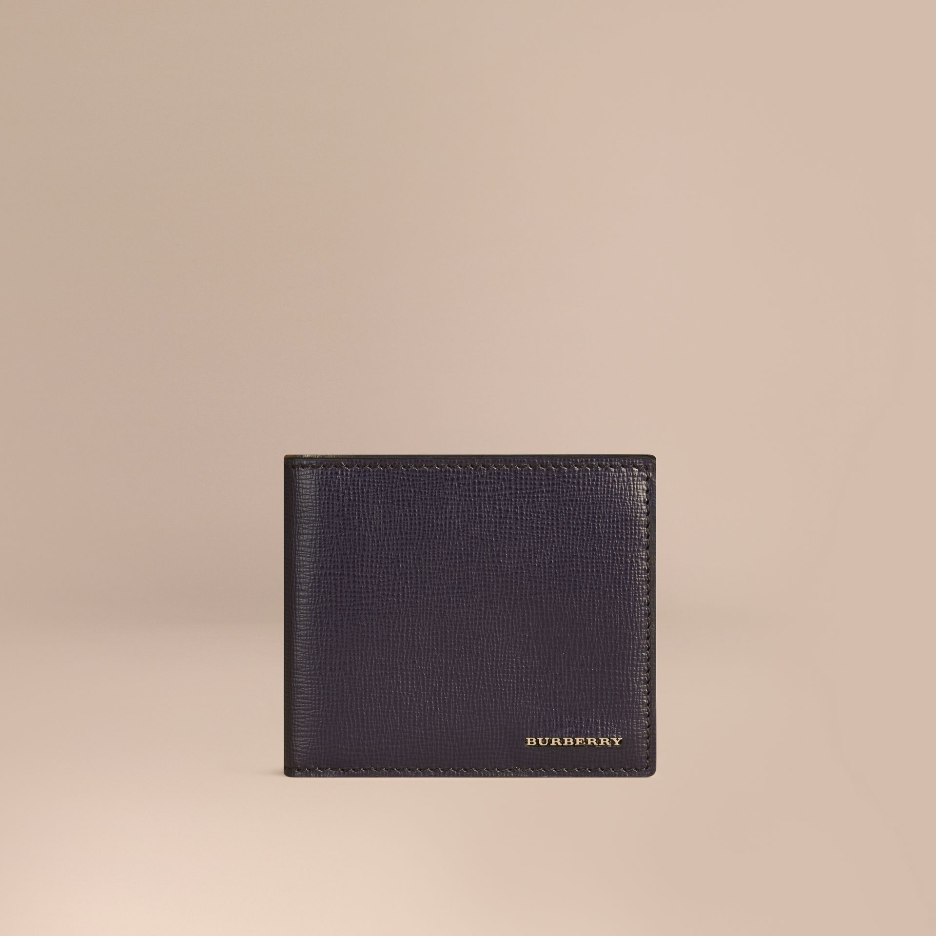 London Leather International Bifold Coin Wallet in Dark Navy | Burberry - gallery image 1