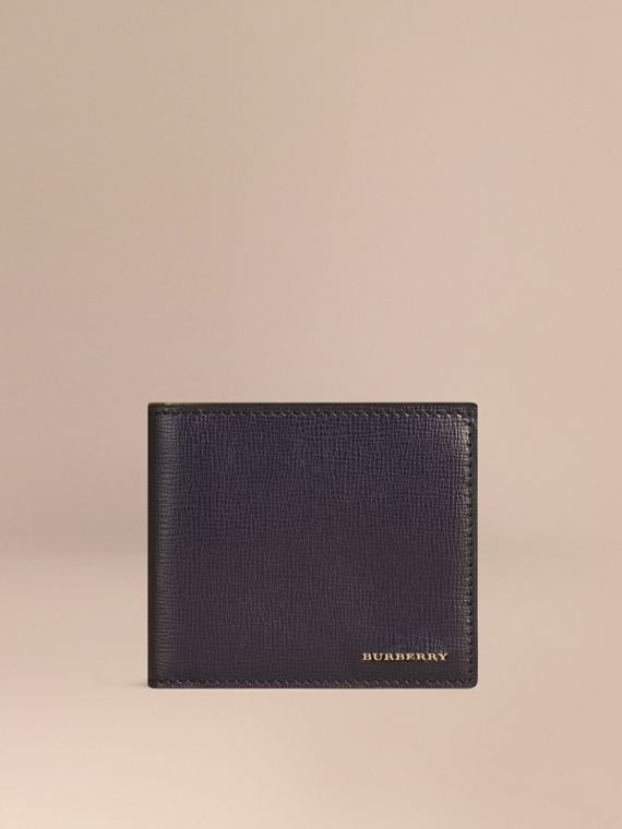 London Leather International Bifold Coin Wallet in Dark Navy