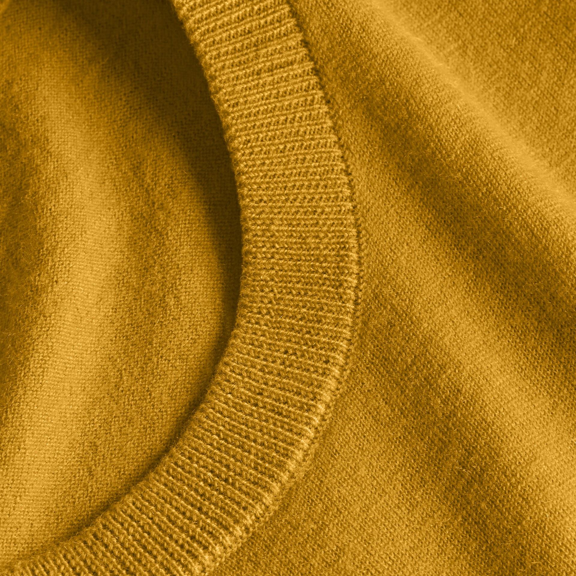 Lightweight Crew Neck Cashmere Sweater with Check Trim Cornflower Yellow - gallery image 2
