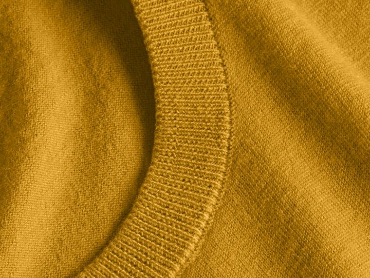 Lightweight Crew Neck Cashmere Sweater with Check Trim Cornflower Yellow - cell image 1