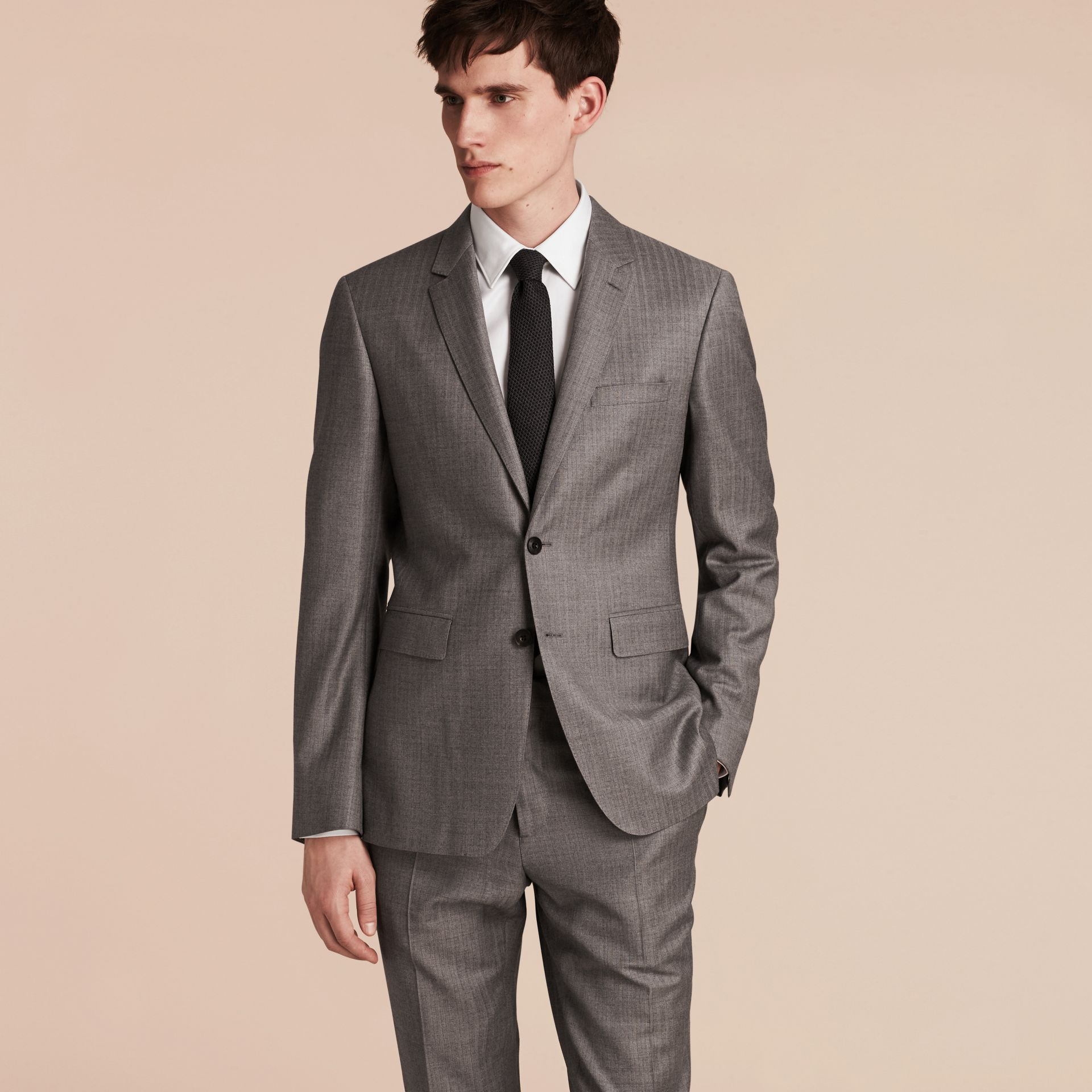 Mid grey melange Slim Fit Travel Tailoring Wool Suit - gallery image 7
