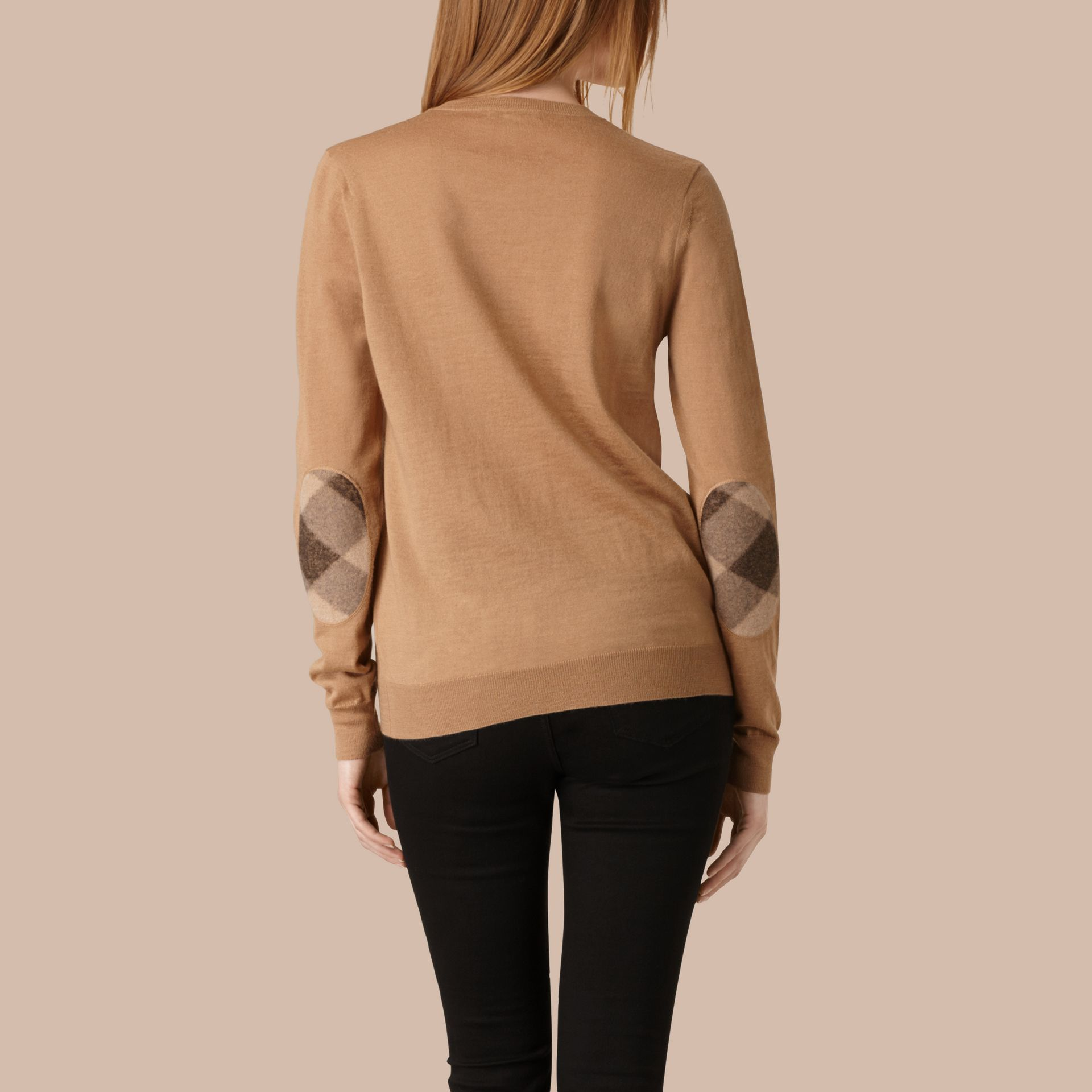 Check Detail Merino Wool Crew Neck Sweater Camel - gallery image 3