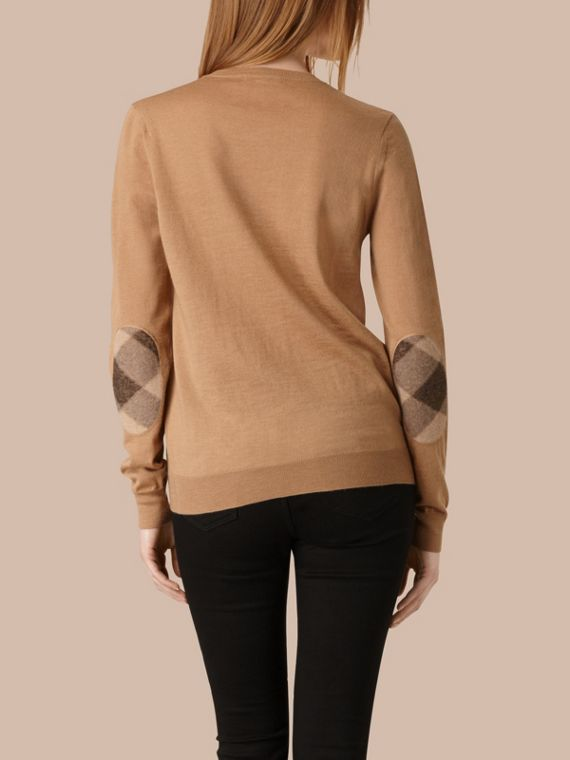 Check Detail Merino Wool Crew Neck Sweater Camel - cell image 2