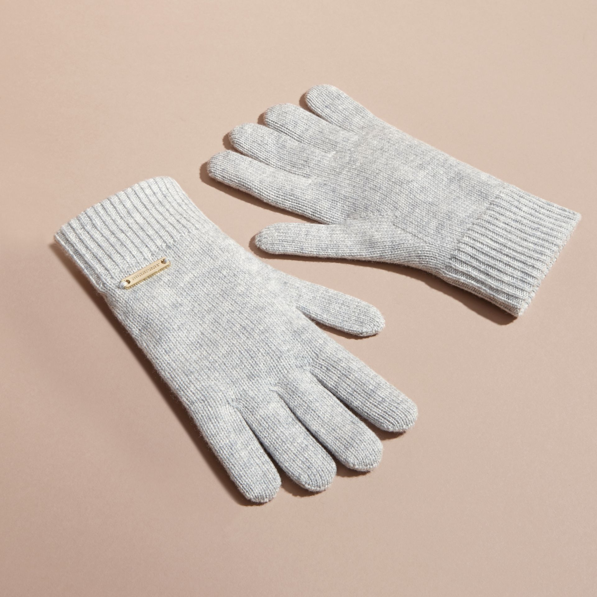 Ribbed Knit Wool Cashmere Gloves Light Grey Melange - gallery image 3