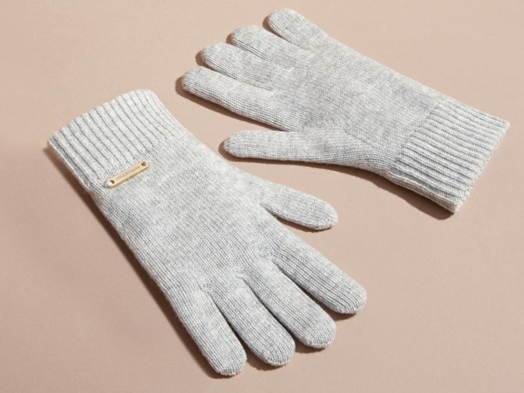 Ribbed Knit Wool Cashmere Gloves Light Grey Melange - cell image 2