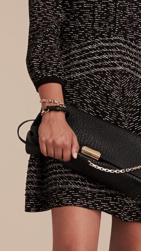 Black Medium Signature Grain Leather Clutch Bag Black - Image 3