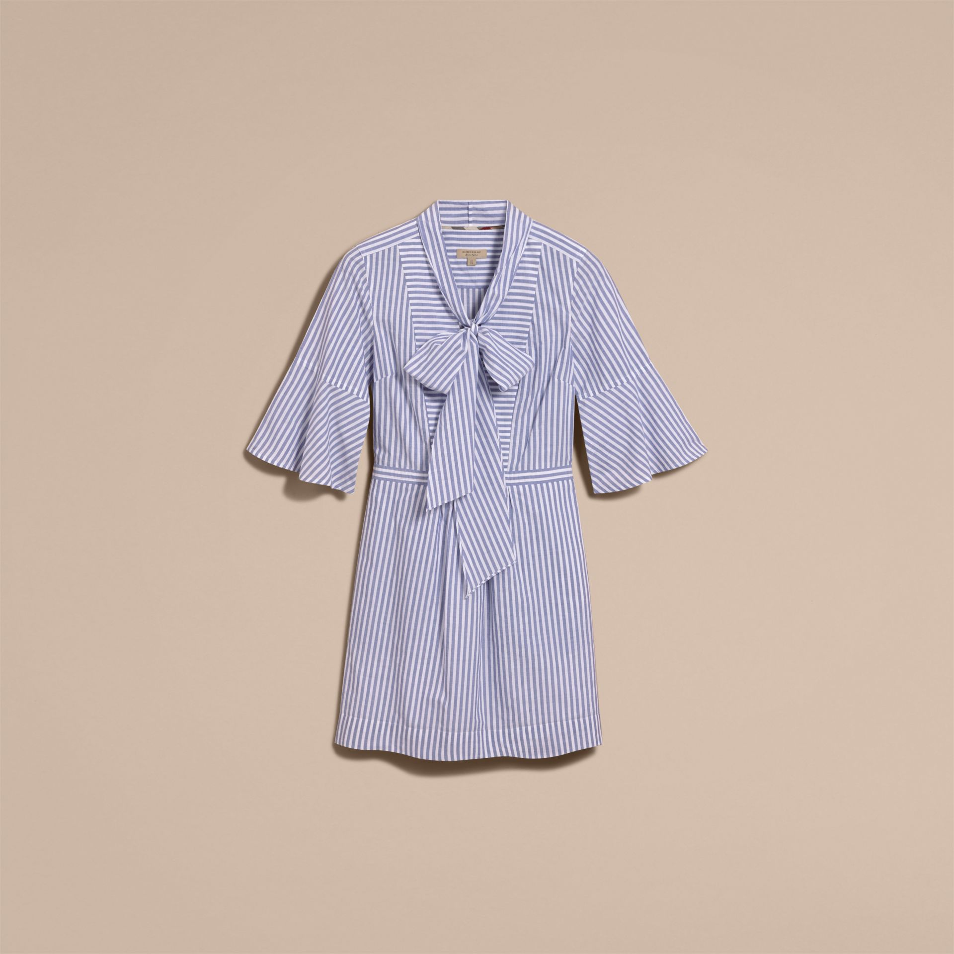 Bell-sleeve Striped Shirt Dress with Tie Neck in Pale Blue/white - Women | Burberry - gallery image 4