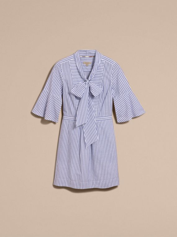 Bell-sleeve Striped Shirt Dress with Tie Neck in Pale Blue/white - Women | Burberry - cell image 3