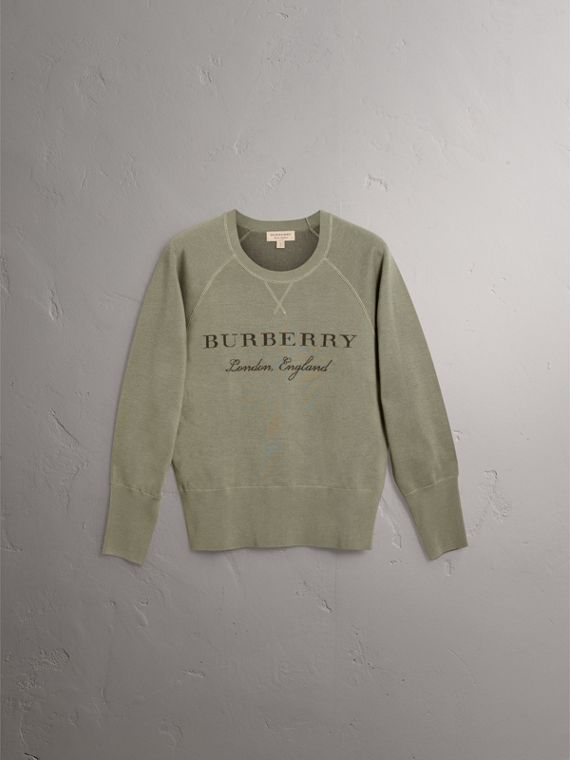 Lightweight Merino Wool Silk Sweater in Aqua Green - Women | Burberry - cell image 3