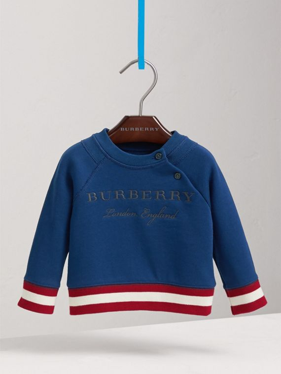 Contrast Stripe Embroidered Cotton Sweatshirt in Canvas Blue