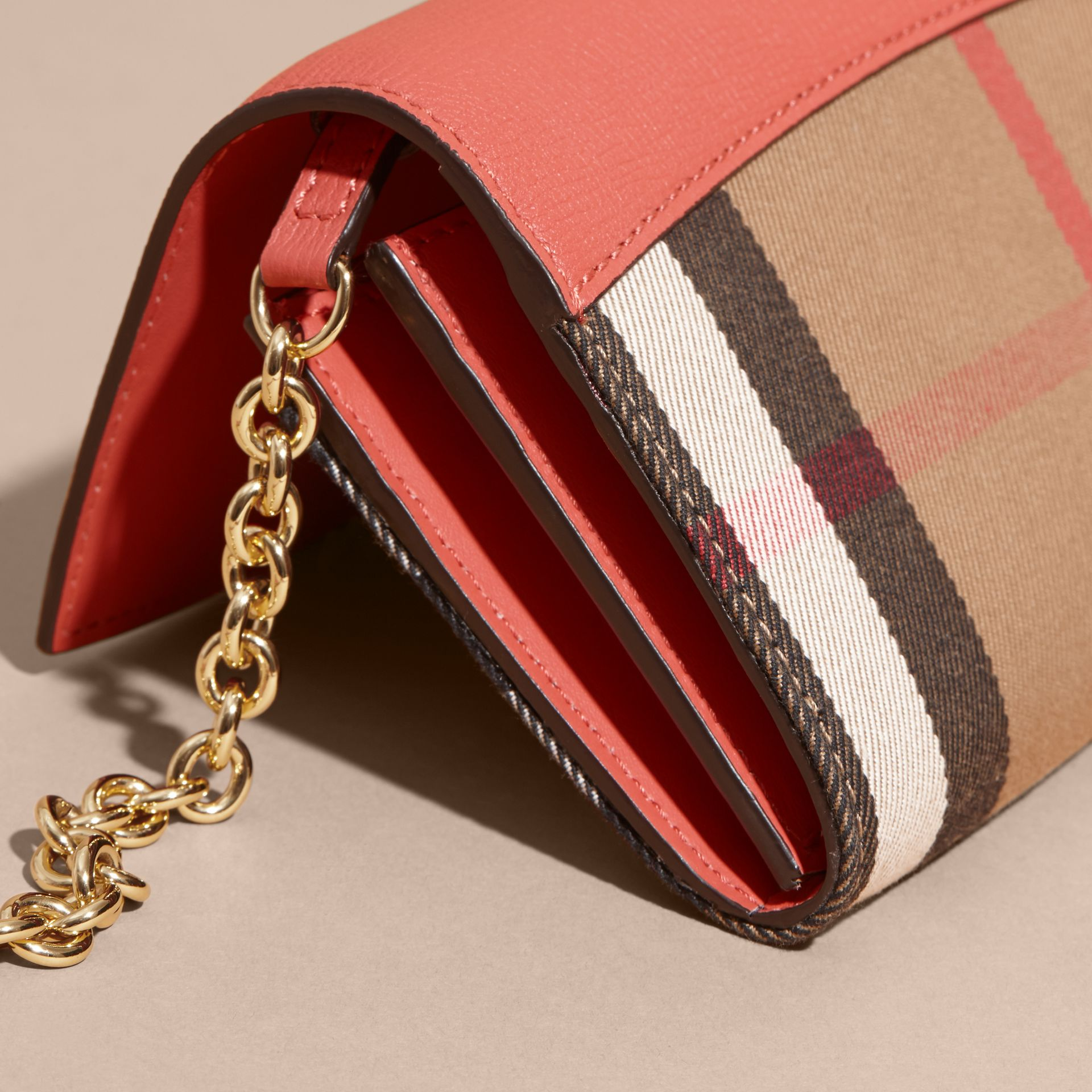 House Check and Leather Wallet with Chain in Cinnamon Red - Women | Burberry - gallery image 7