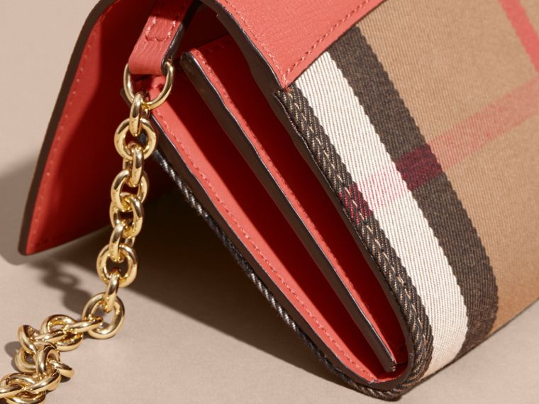 House Check and Leather Wallet with Chain in Cinnamon Red - Women | Burberry Australia - cell image 4