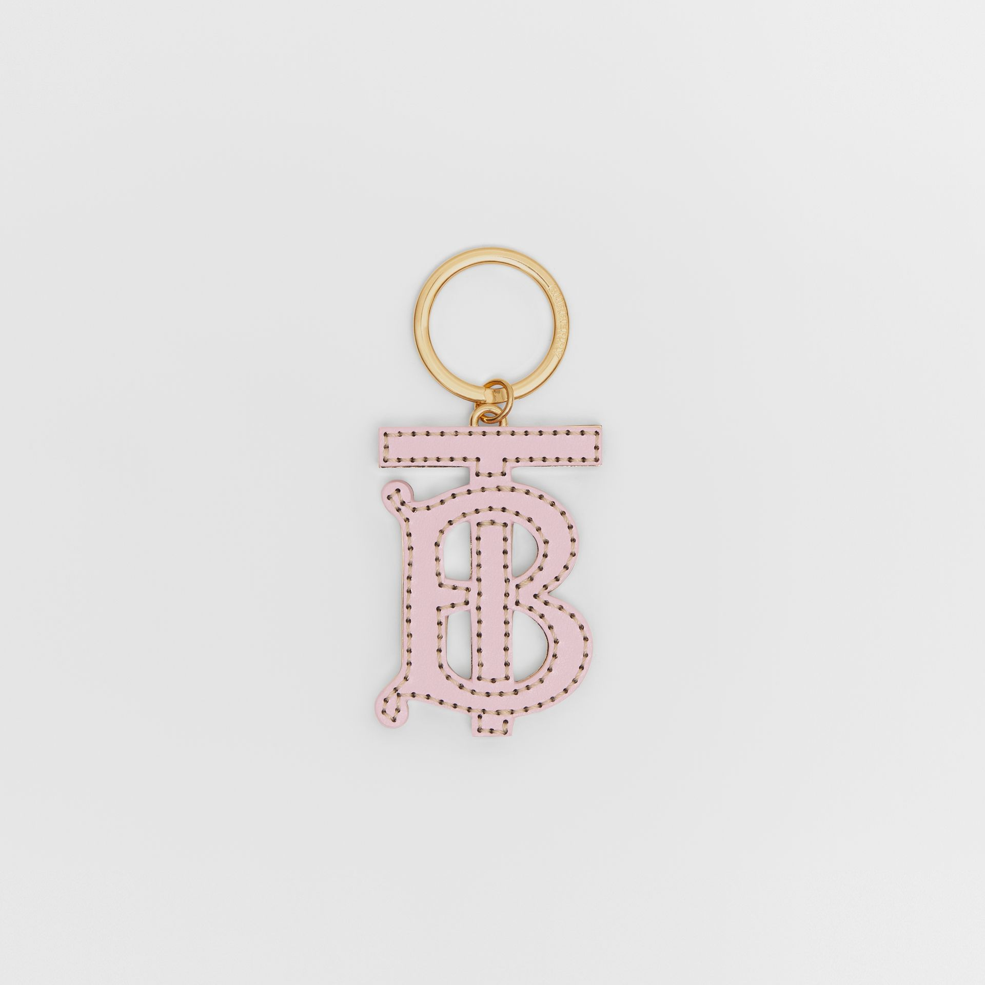 Monogram Motif Two-tone Leather Key Charm in Pink/honey | Burberry - gallery image 0