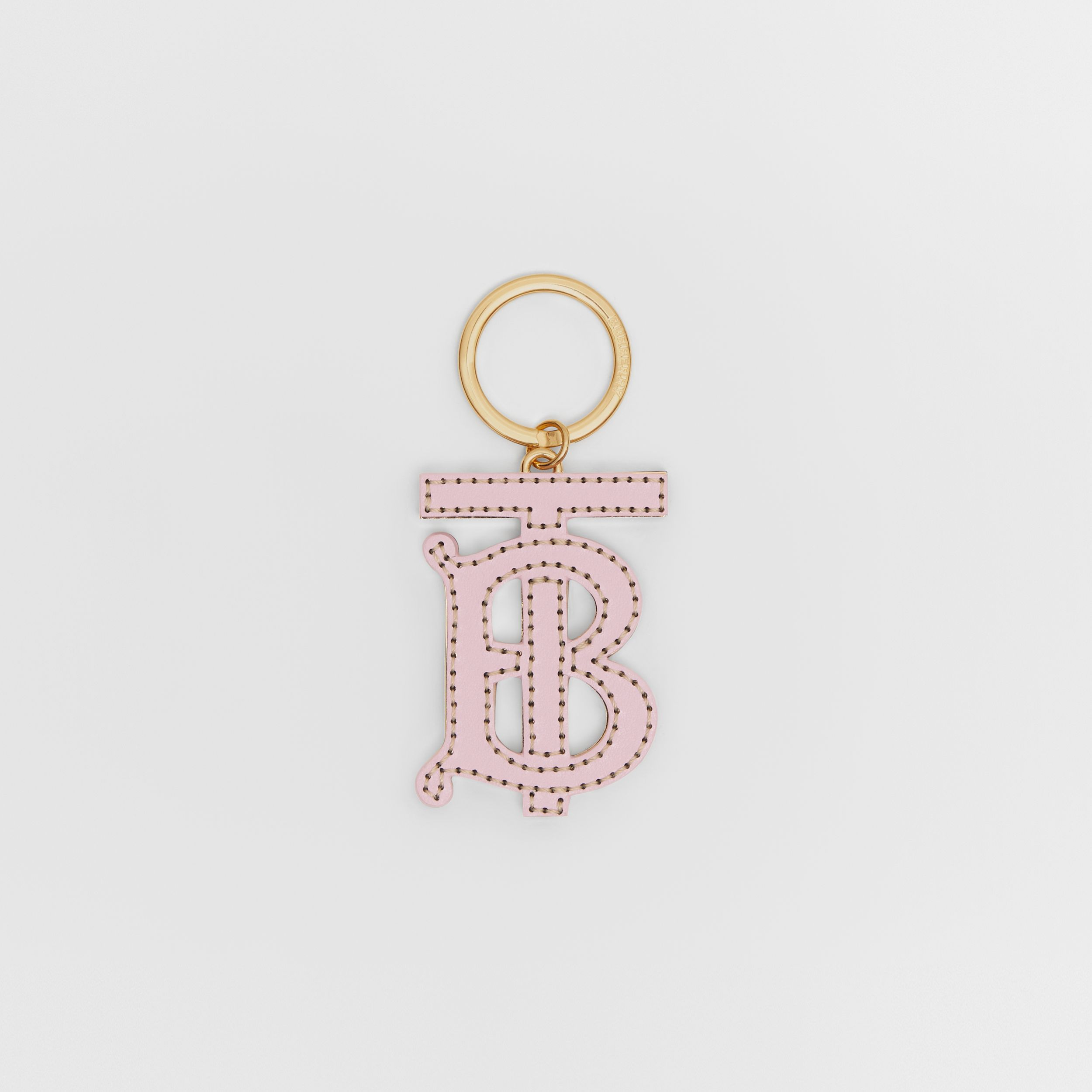 Monogram Motif Two-tone Leather Key Charm in Pink / Honey - Women | Burberry - 1