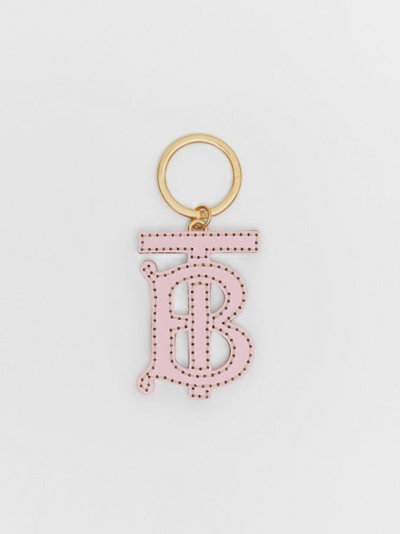 Monogram Motif Two-tone Leather Key Charm in Pink/honey