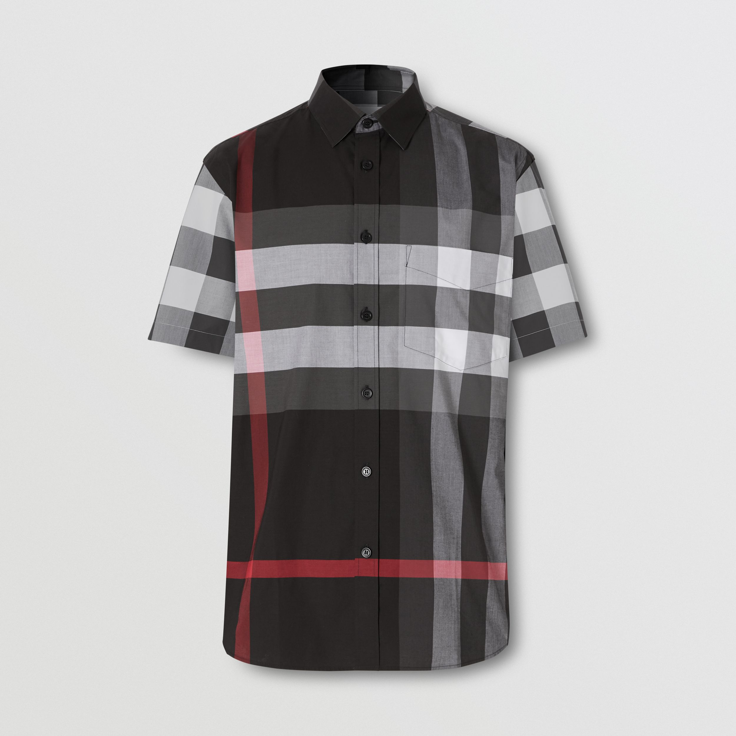 Short-sleeve Check Stretch Cotton Poplin Shirt - Men | Burberry - 4