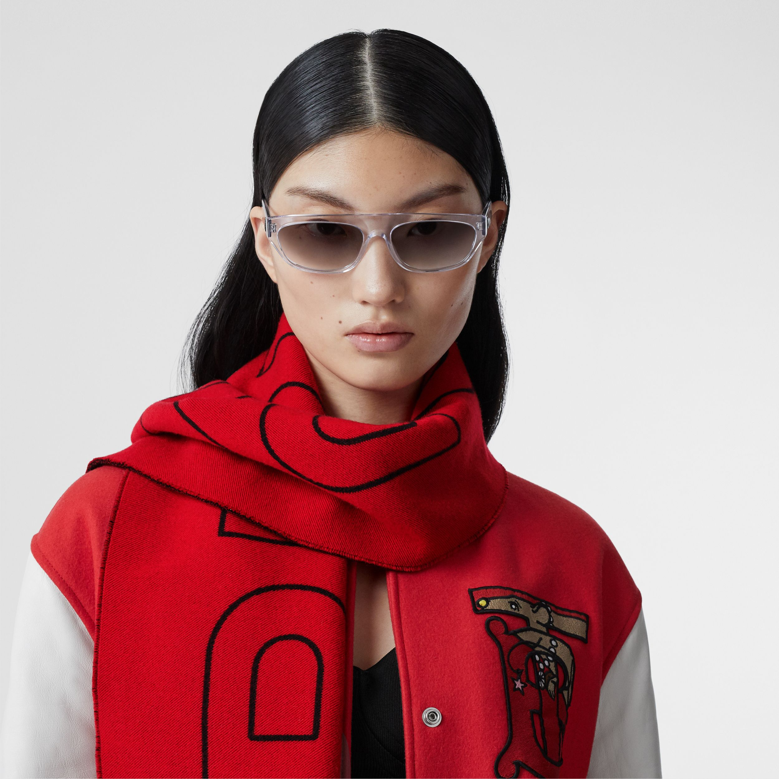 Logo and Monogram Motif Wool Silk Jacquard Scarf in Bright Red | Burberry - 3