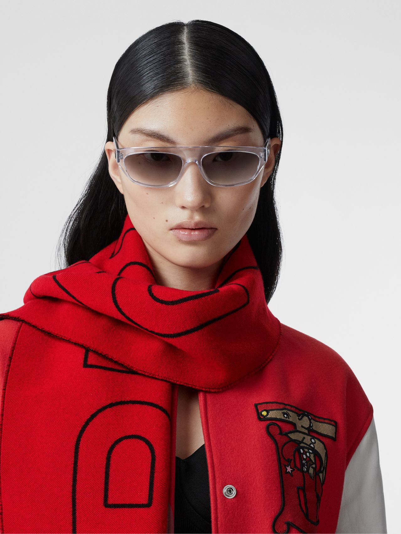Logo and Monogram Motif Wool Silk Jacquard Scarf in Bright Red