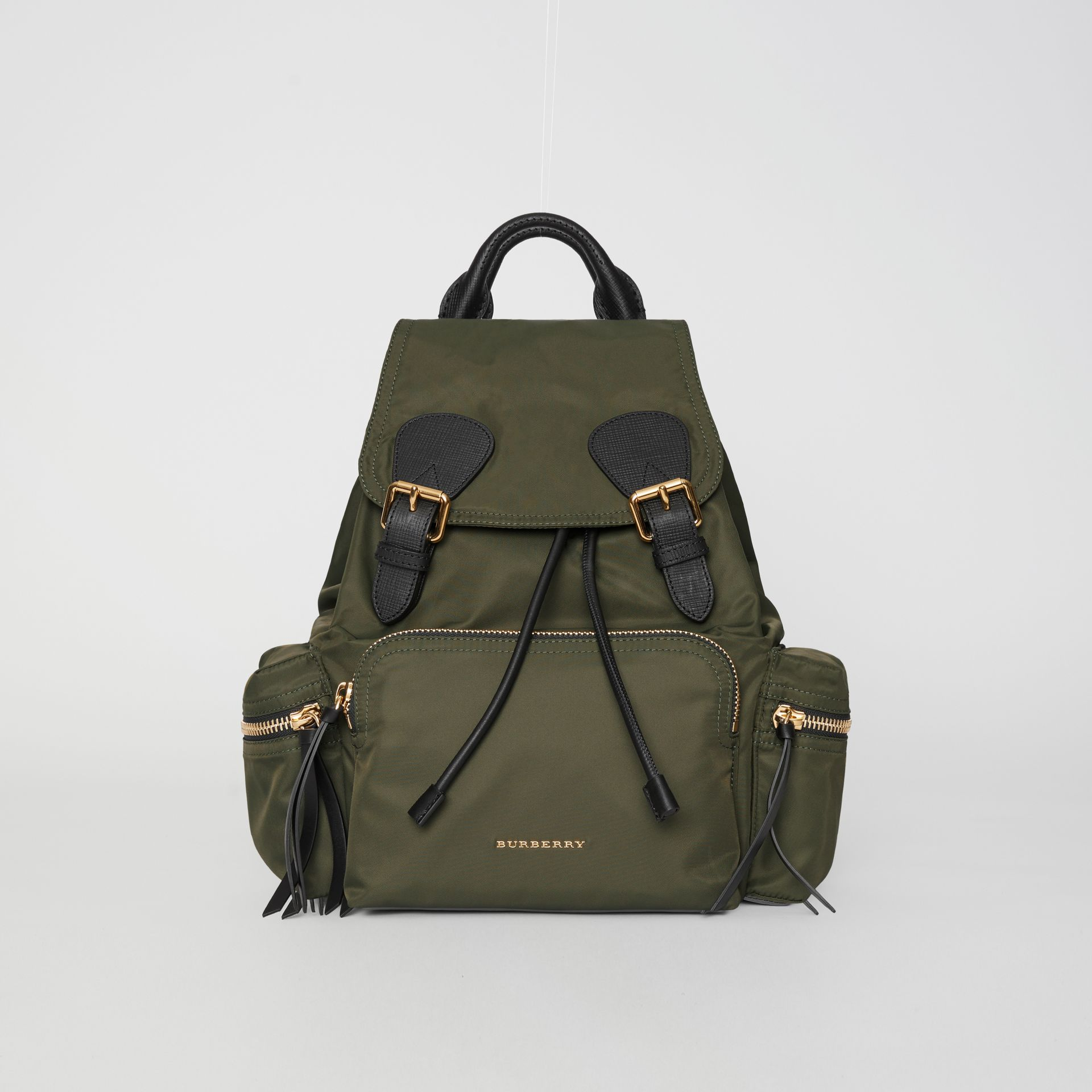 The Medium Rucksack in Technical Nylon and Leather in Canvas Green - Women | Burberry United Kingdom - gallery image 0