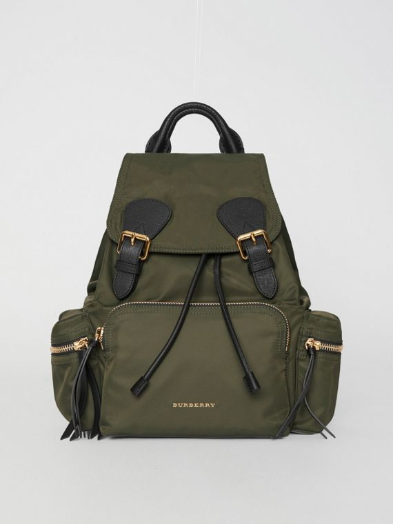 The Medium Rucksack in Technical Nylon and Leather in Canvas Green