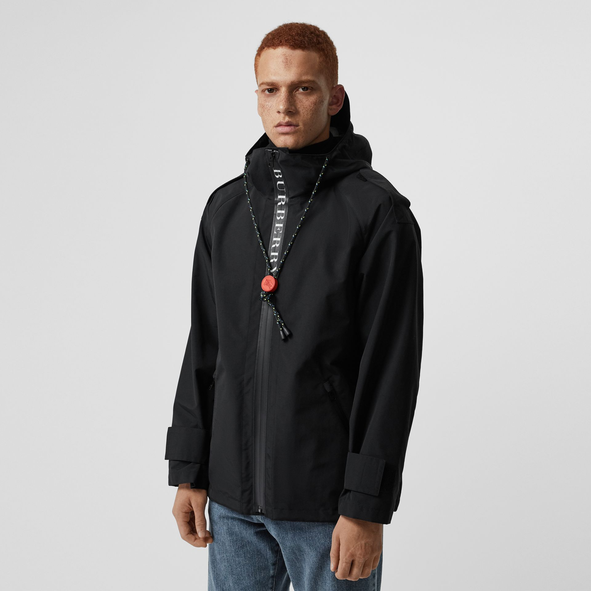 Bungee Cord Detail Hooded Parka in Black - Men | Burberry United Kingdom - gallery image 5