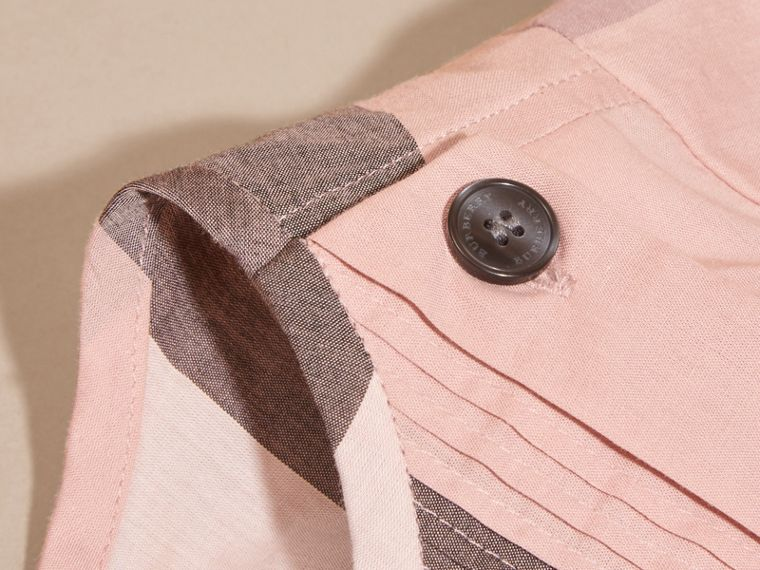 Antique pink Pleat Detail Check Cotton Dress - cell image 1