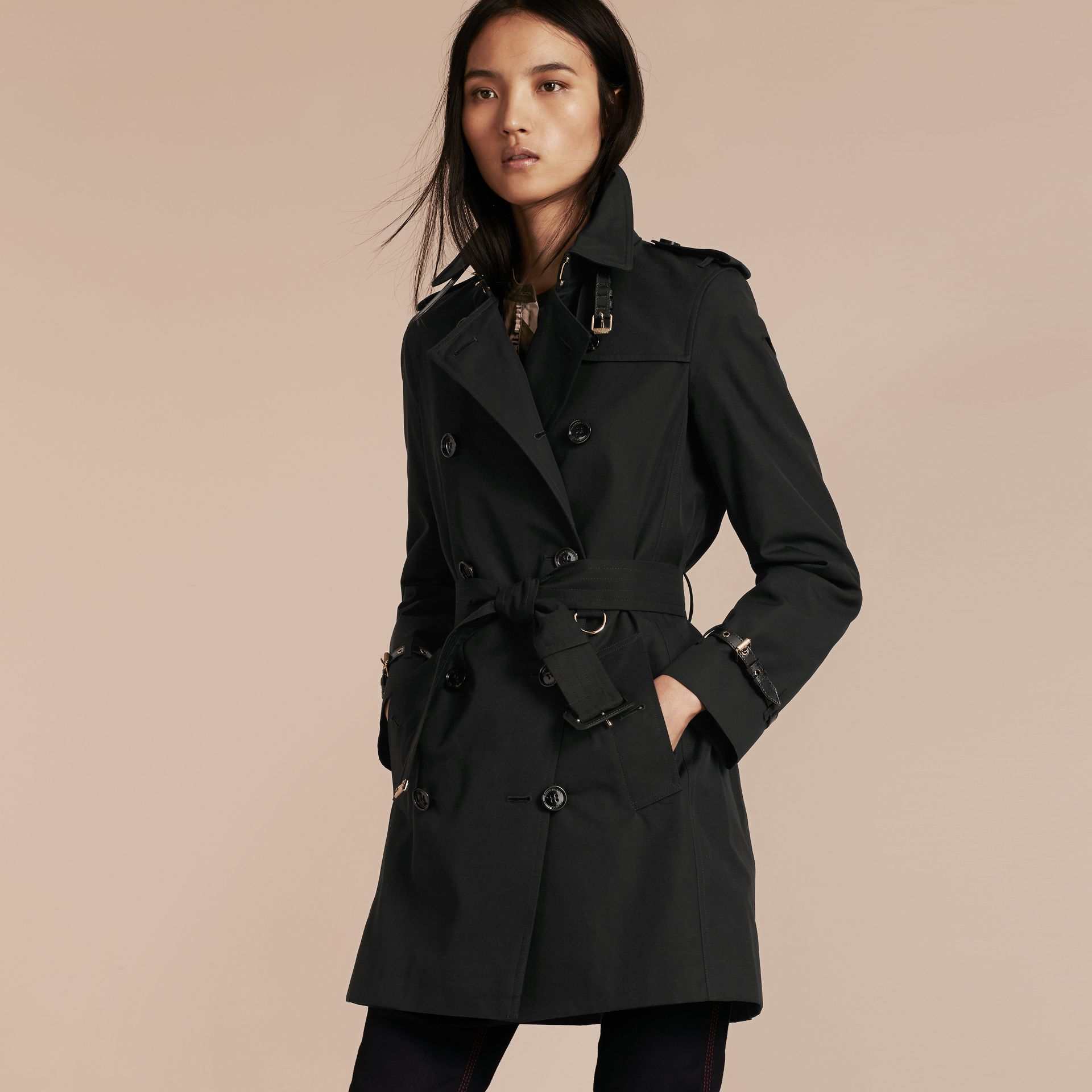 Black Leather Detail Cotton Gabardine Trench Coat Black - gallery image 1