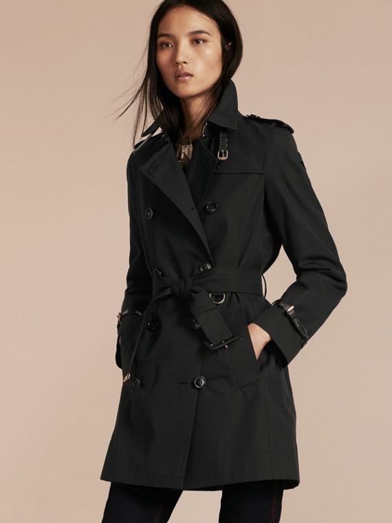 Leather Detail Cotton Gabardine Trench Coat Black
