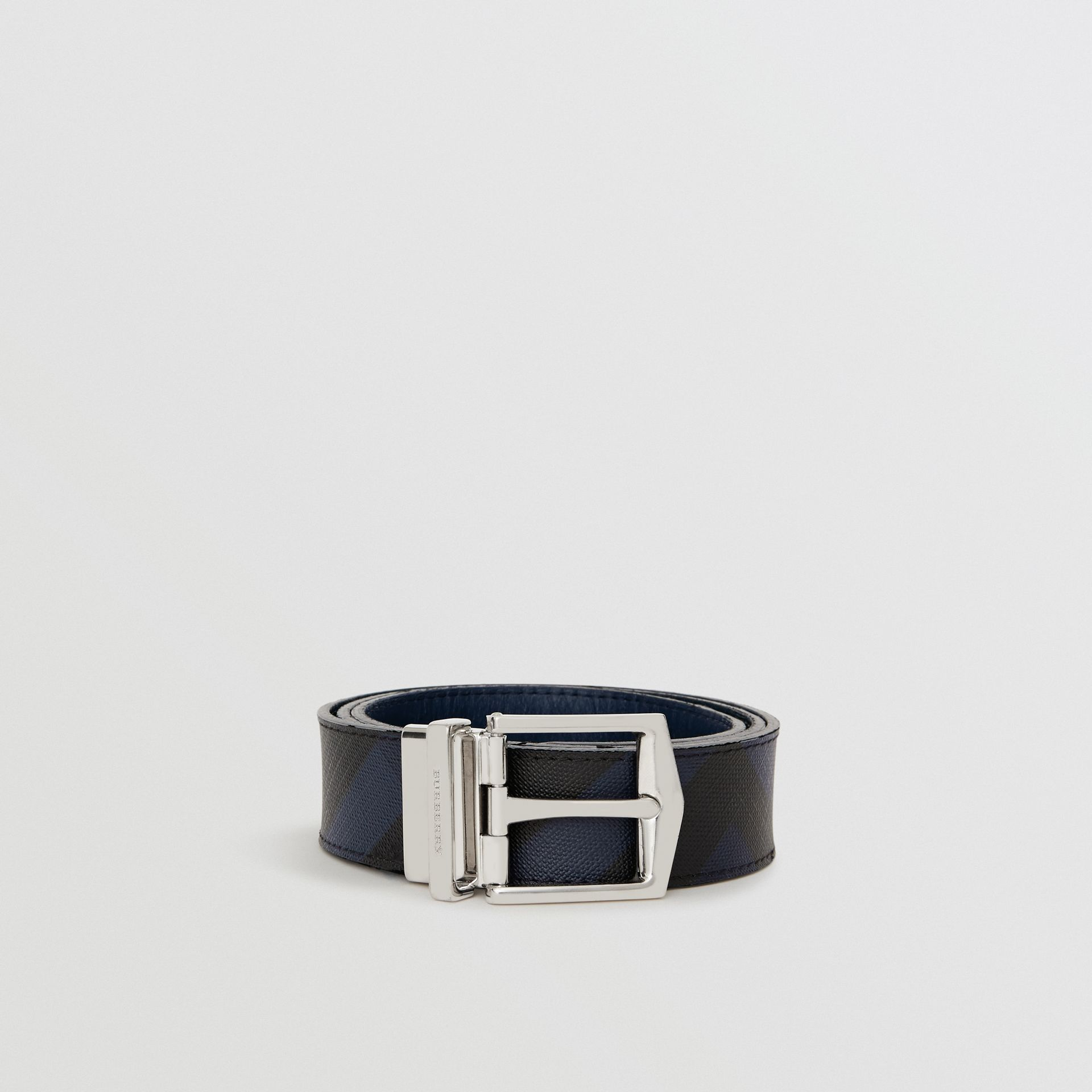 Reversible London Check and Leather Belt in Navy/black - Men | Burberry United Kingdom - gallery image 3