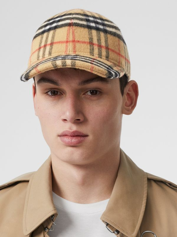 Vintage Check Wool Baseball Cap in Antique Yellow | Burberry - cell image 3