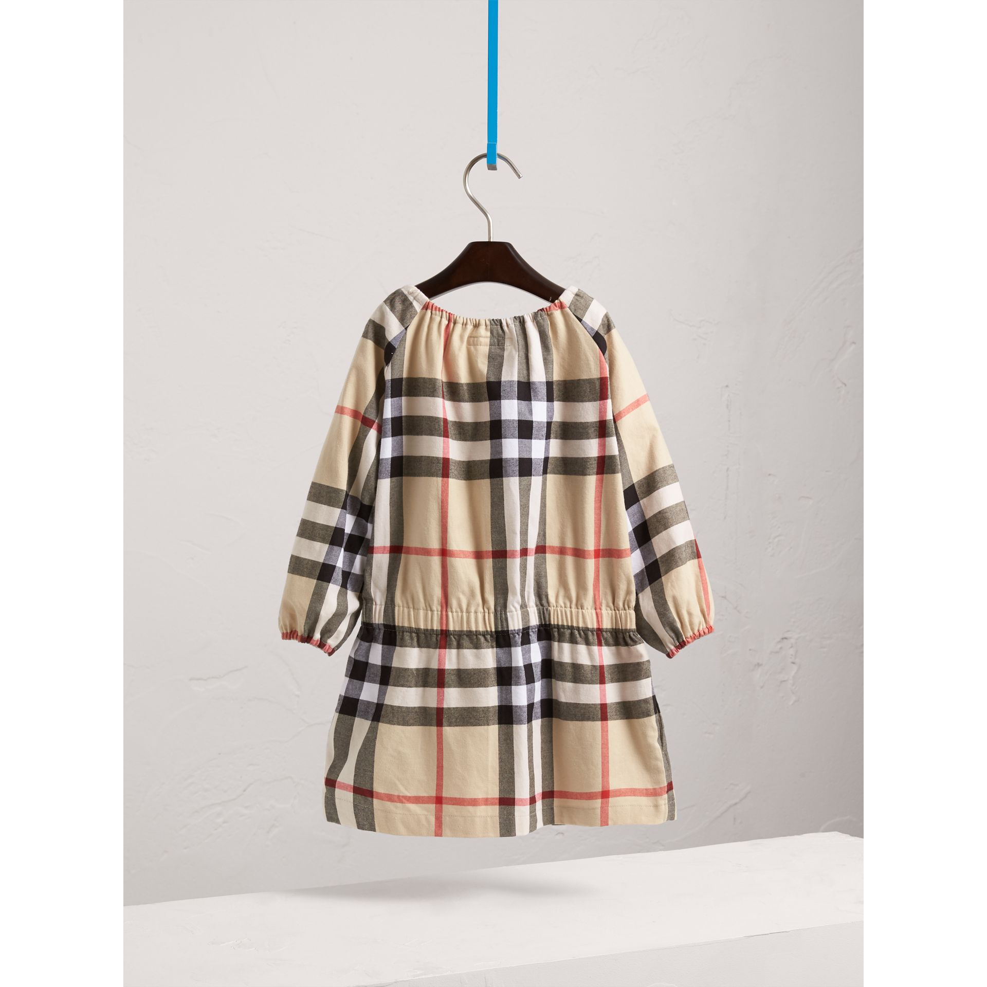 Gathered Check Cotton Flannel Dress in New Classic - Girl | Burberry - gallery image 4
