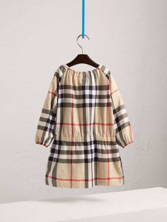 Gathered Check Cotton Flannel Dress in New Classic - Girl | Burberry - cell image 3