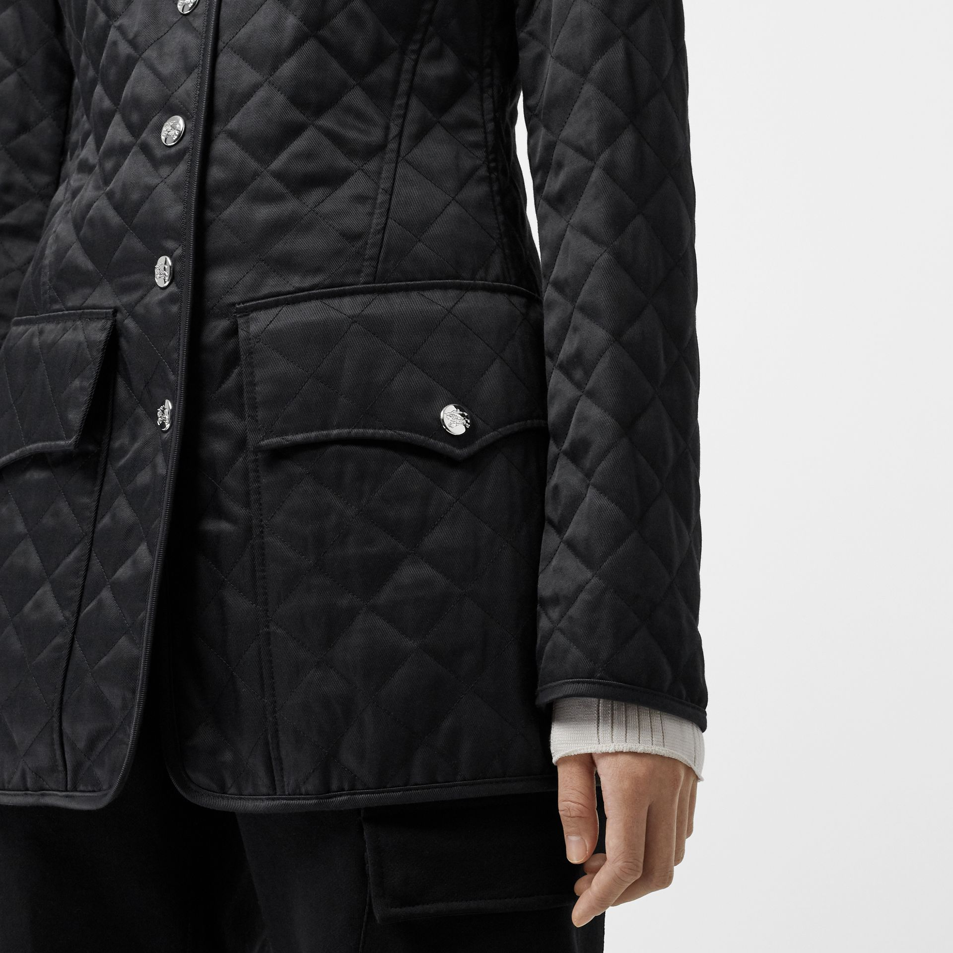 Logo Button Diamond Quilted Jacket in Black - Women | Burberry - gallery image 1