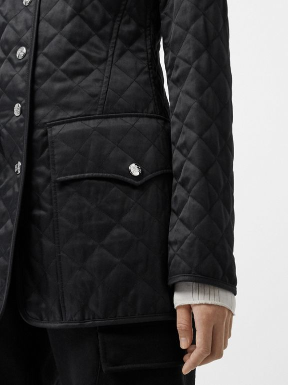 Logo Button Diamond Quilted Jacket in Black - Women | Burberry - cell image 1