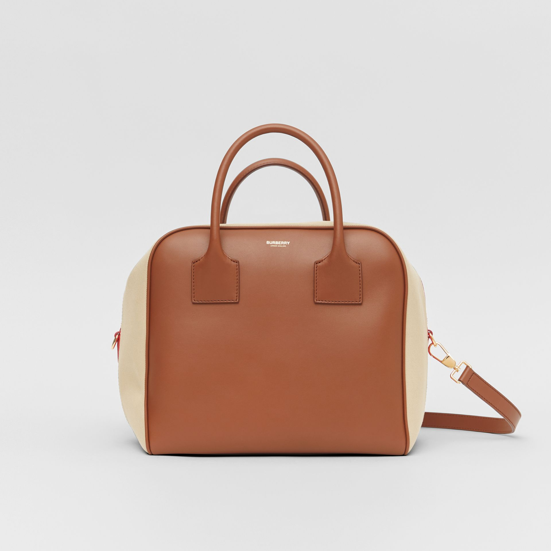 Medium Leather and Cotton Canvas Cube Bag in Malt Brown - Women | Burberry - gallery image 0