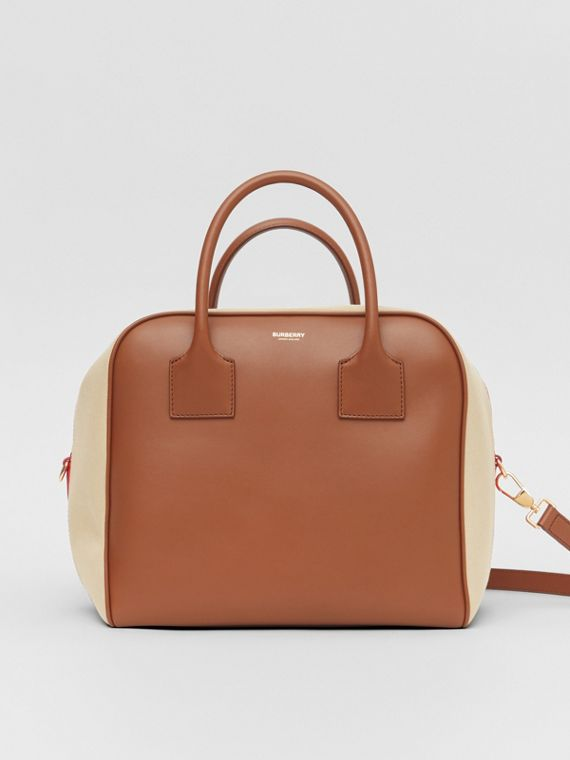 Medium Leather and Cotton Canvas Cube Bag in Malt Brown