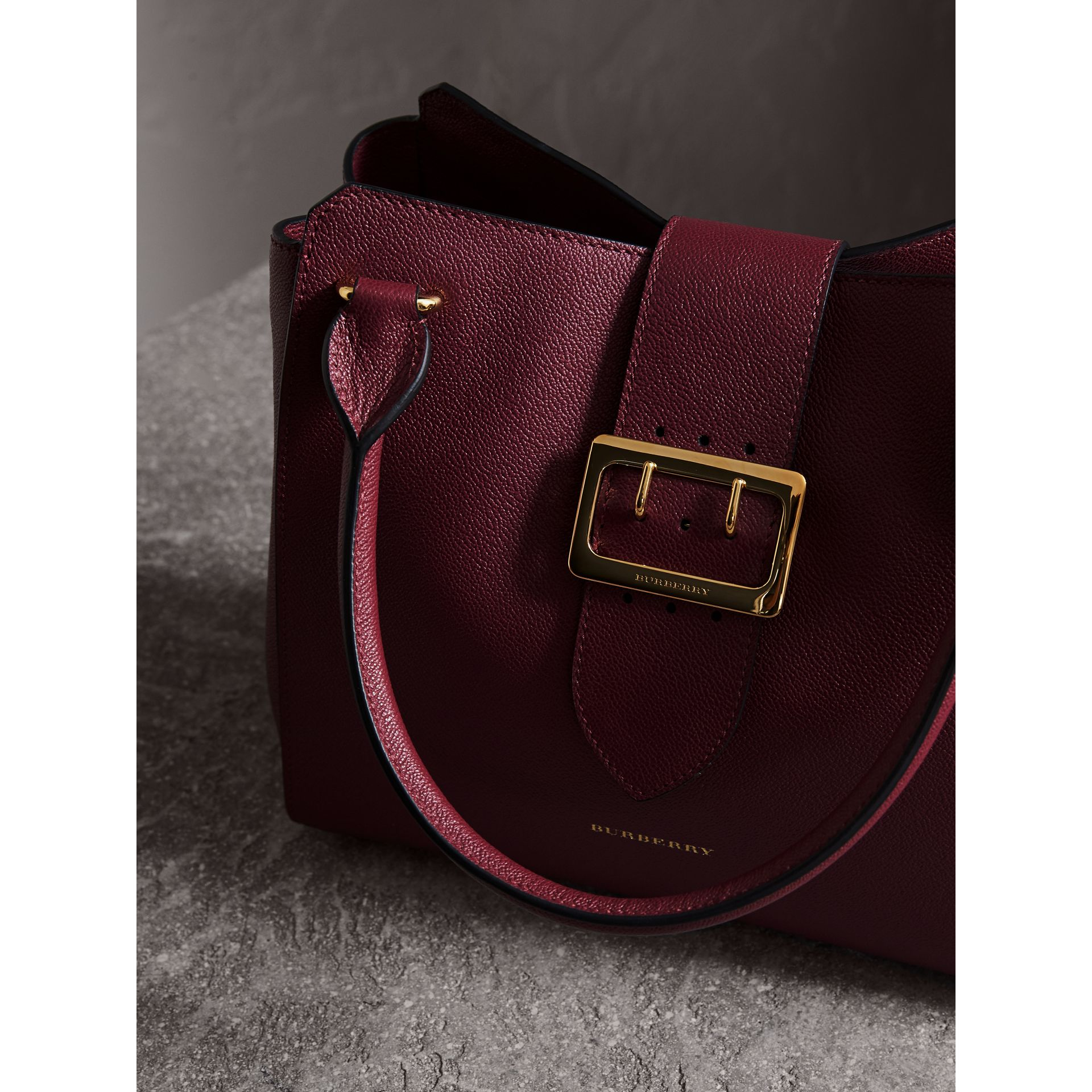 The Medium Buckle Tote in Grainy Leather in Dark Plum - gallery image 5