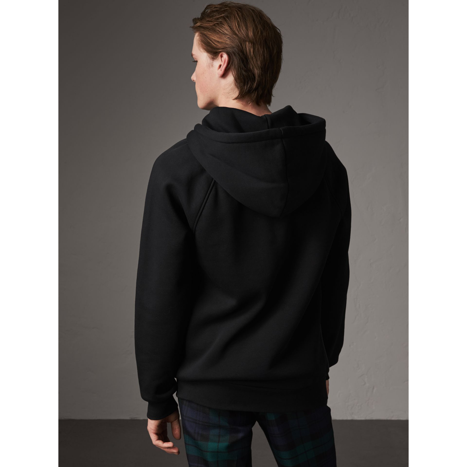 Silk Blend Panel Detail Jersey Hooded Top in Black - Men | Burberry - gallery image 2