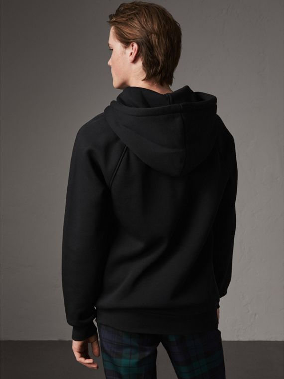 Silk Blend Panel Detail Jersey Hooded Top in Black - Men | Burberry - cell image 2