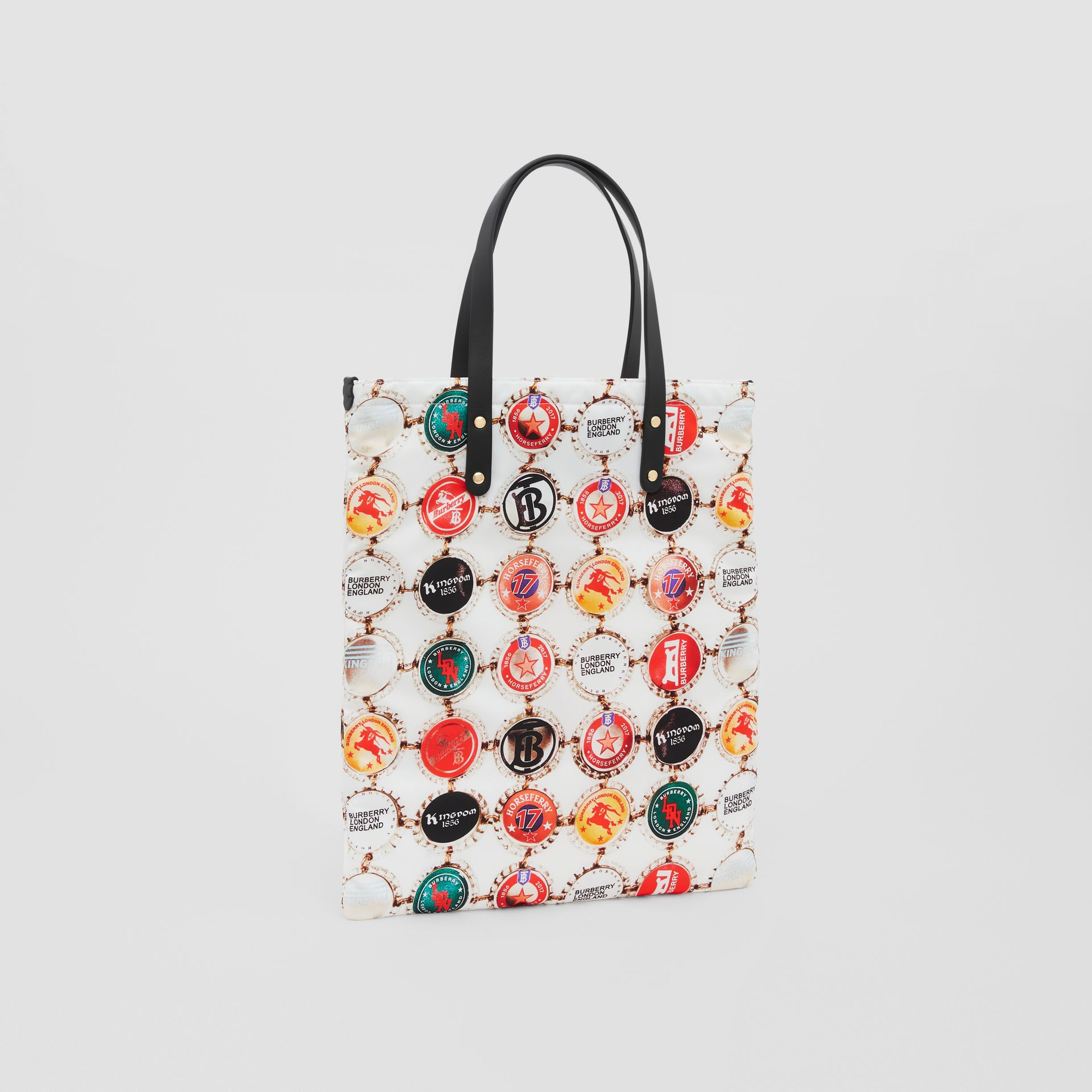 Bottle Cap Print Nylon Tote Bag in Black | Burberry - gallery image 7