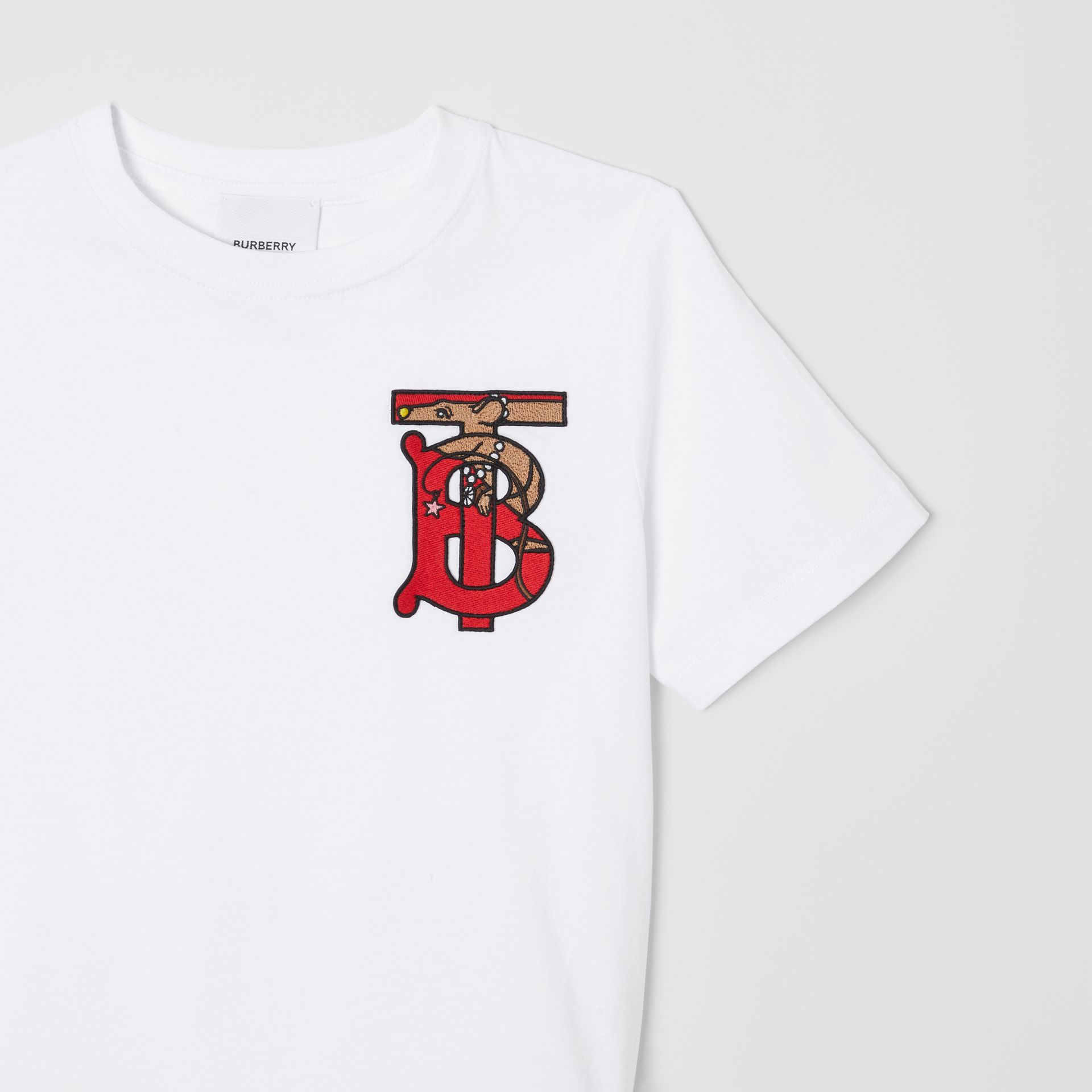 Monogram Motif Cotton T-shirt in White | Burberry - gallery image 5