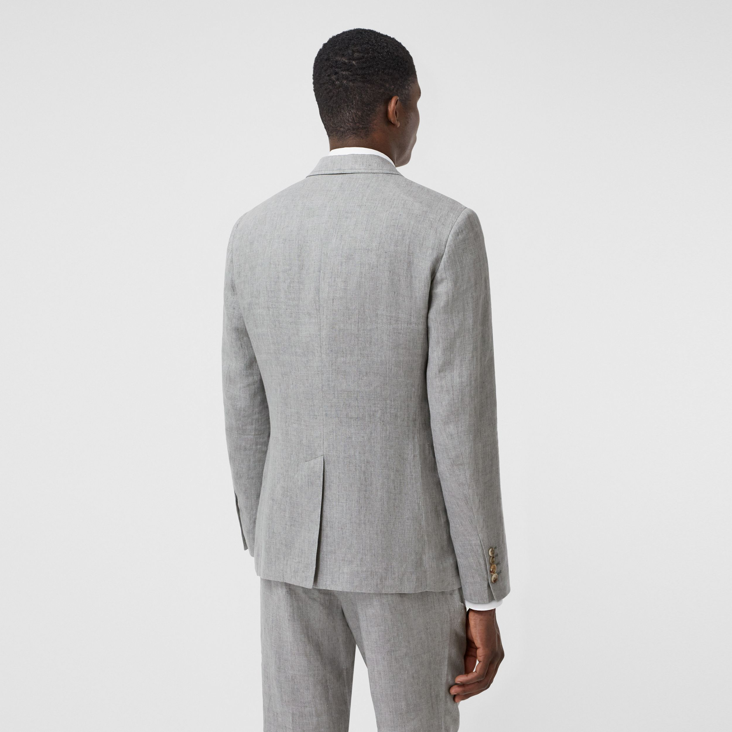 Slim Fit Linen Tailored Jacket in Heather Melange - Men | Burberry - 3