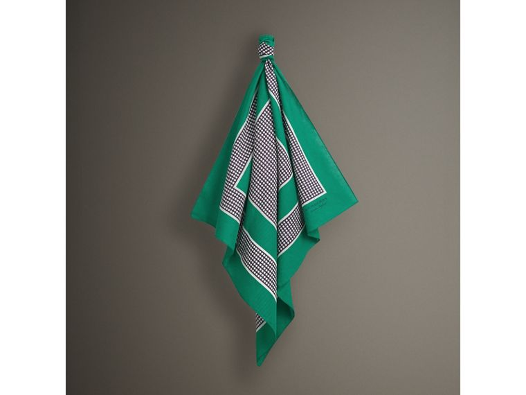 Dot and Stripe Print Cotton Square Scarf in Tourmaline Green | Burberry - cell image 4