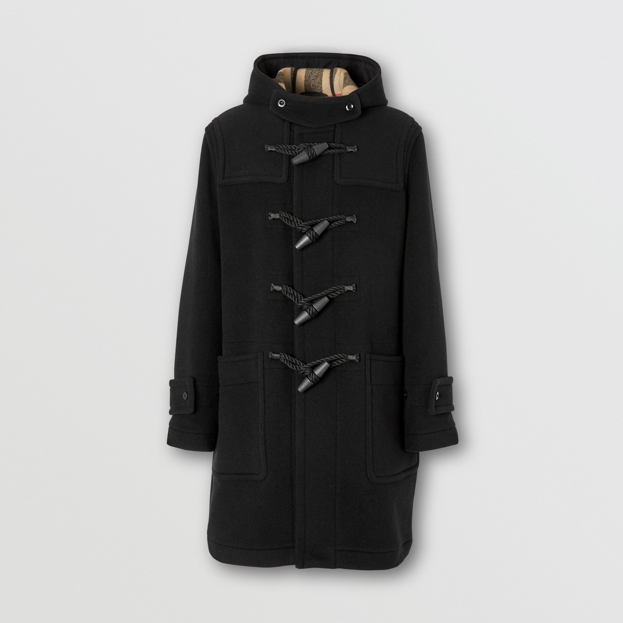 Check-lined Technical Wool Duffle Coat in Black - Men | Burberry - 4