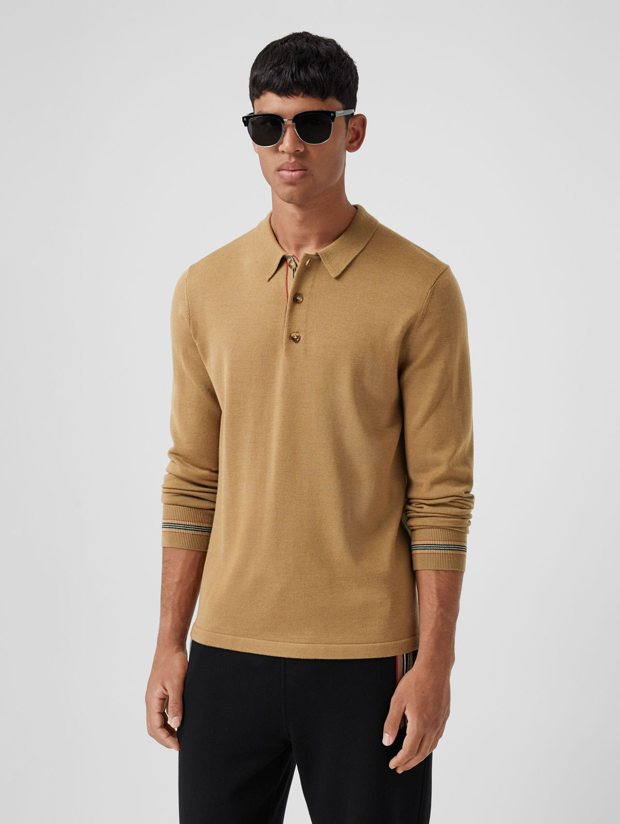 Long-sleeve Icon Stripe Detail Merino Wool Polo Shirt in Camel