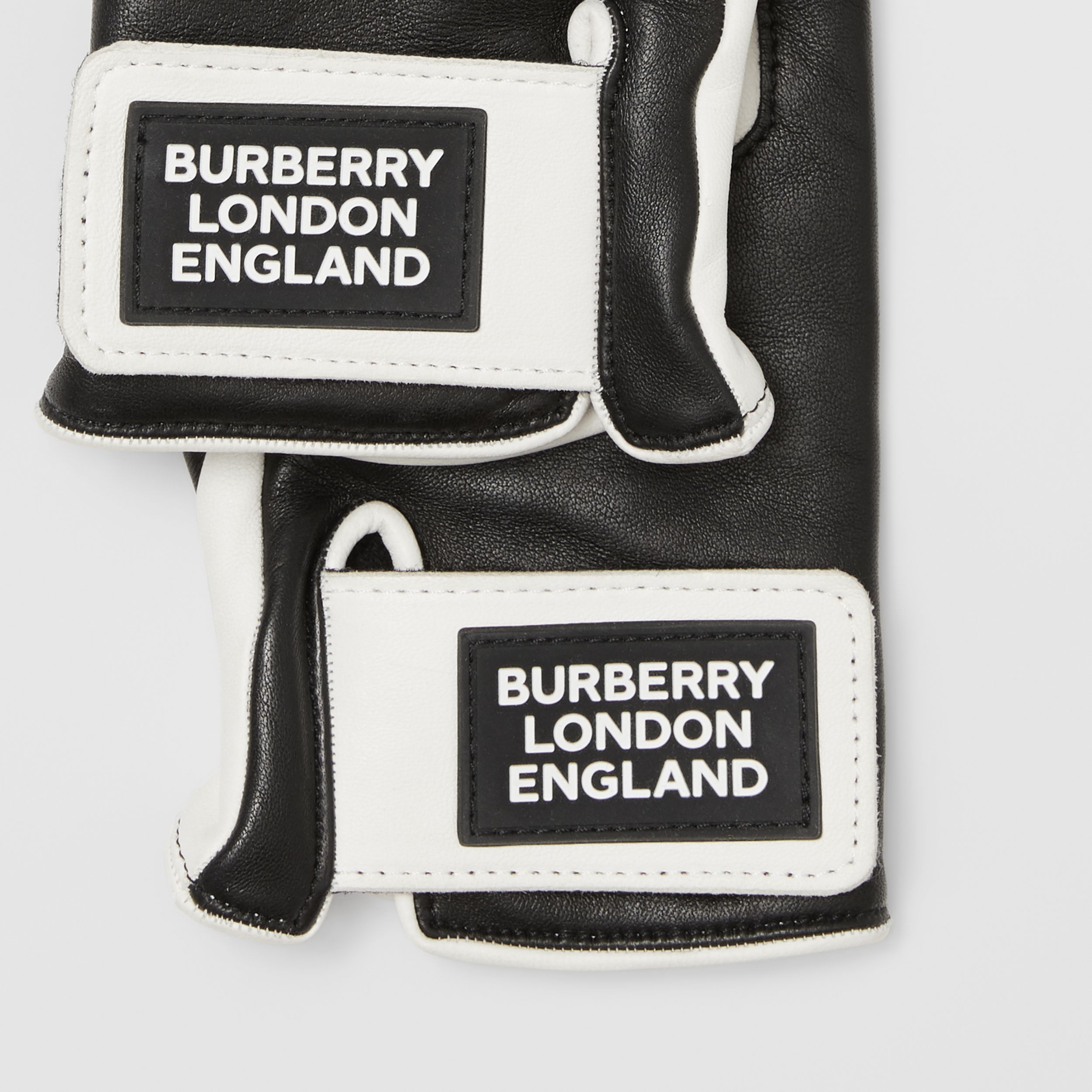 Logo Appliqué Two-tone Lambskin Gloves in Optic White/black | Burberry - 2