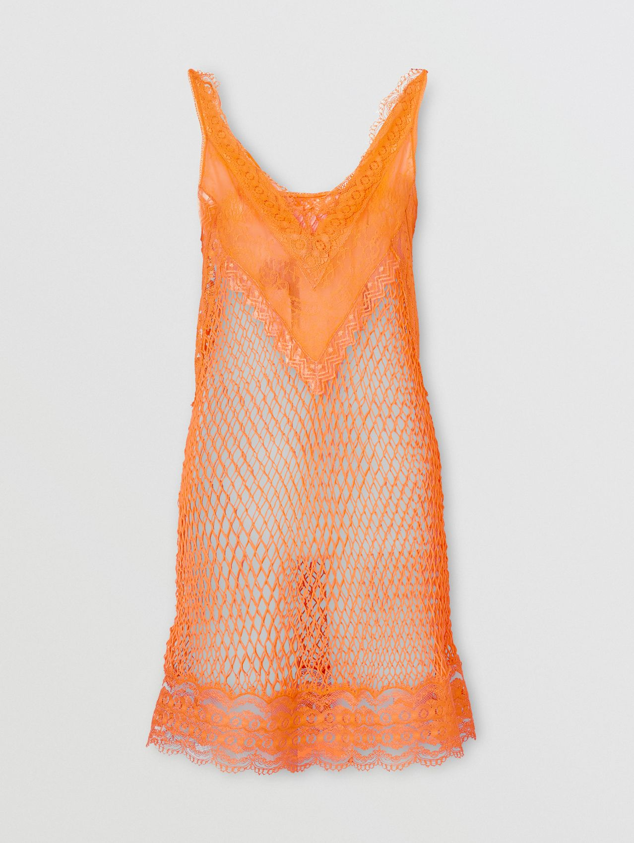 Fishnet and Lace Dress with Silk Slip in Amber Orange
