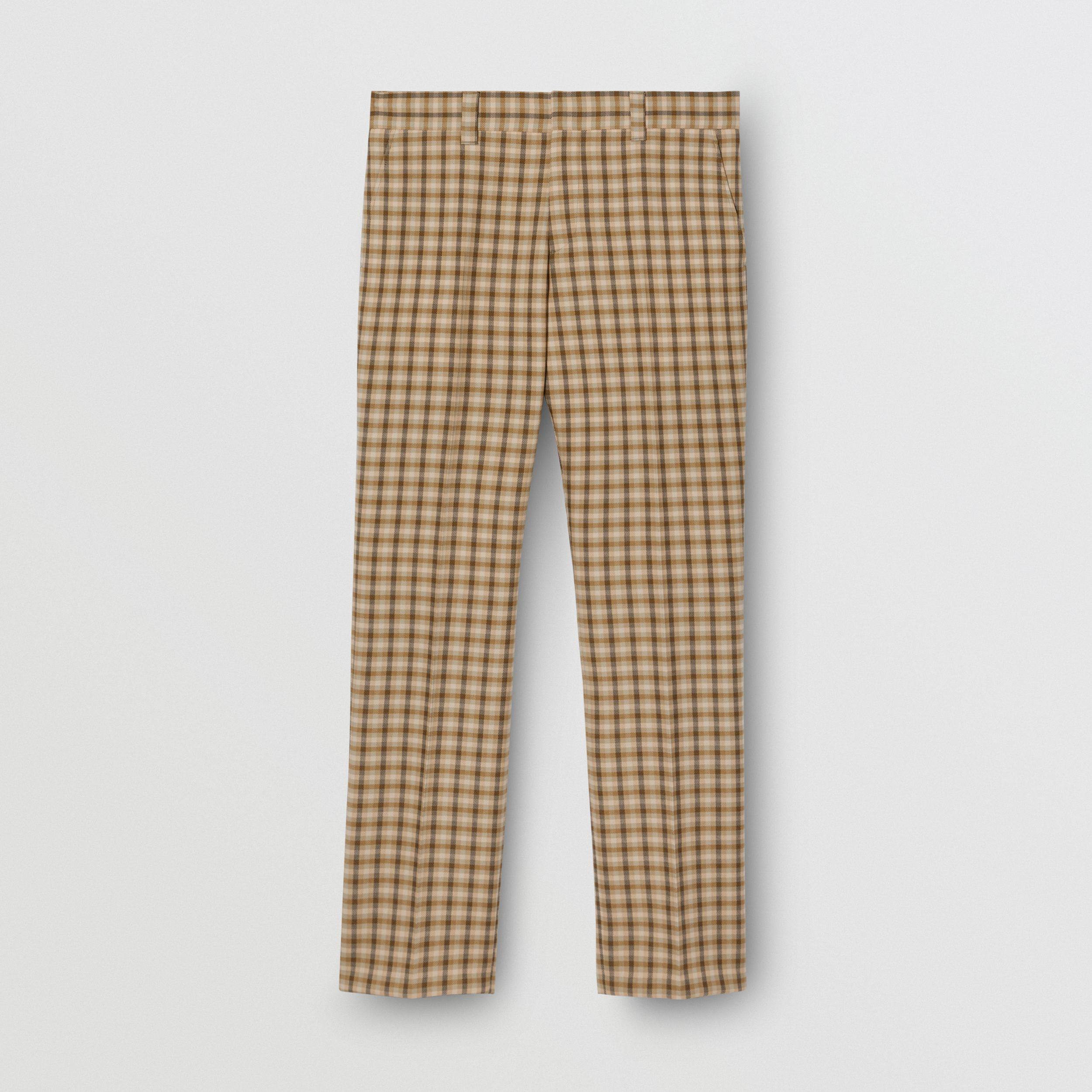 Gingham Wool Tailored Trousers in Soft Fawn - Men | Burberry - 4