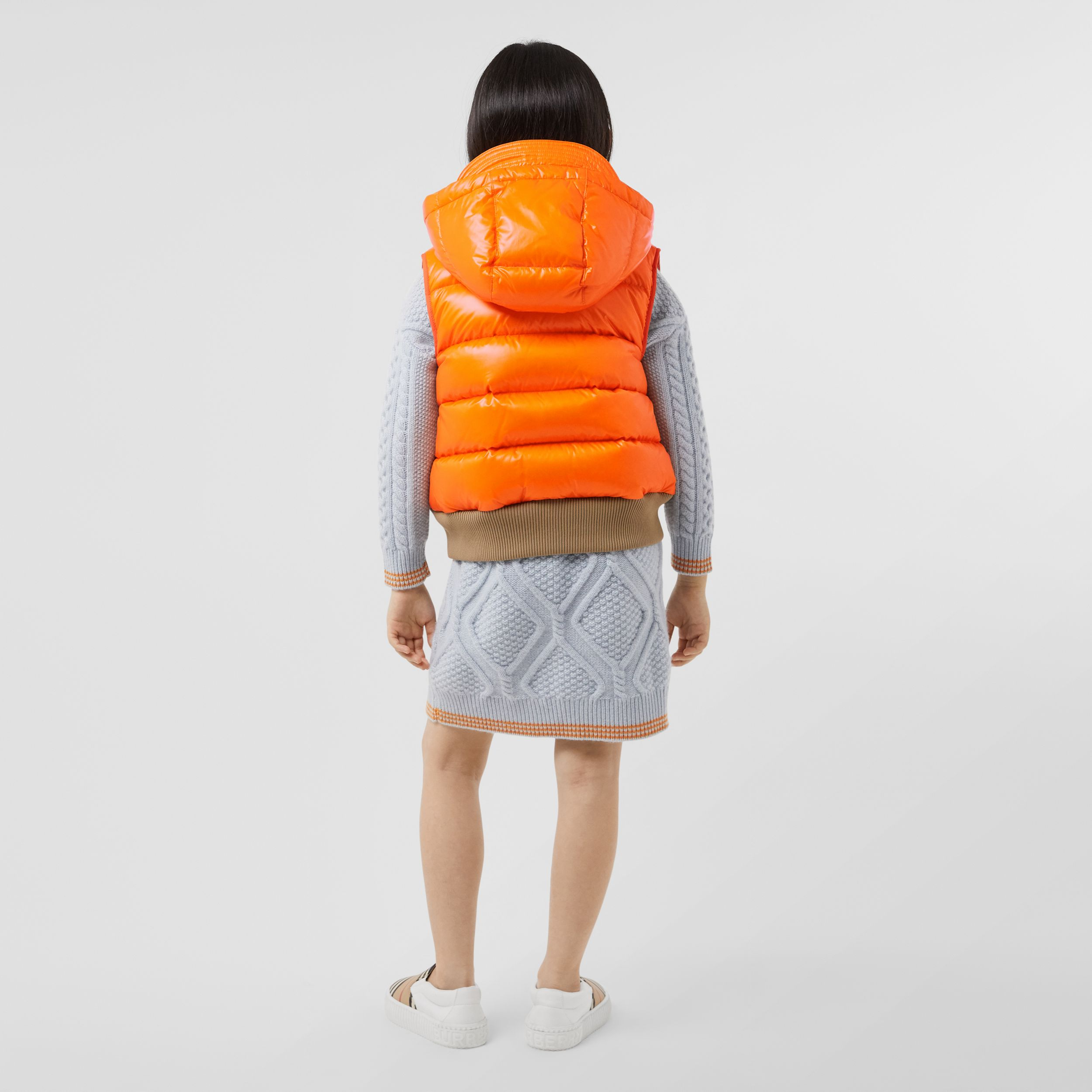 Detachable Hood Nylon Puffer Gilet in Bright Mandarin | Burberry - 3
