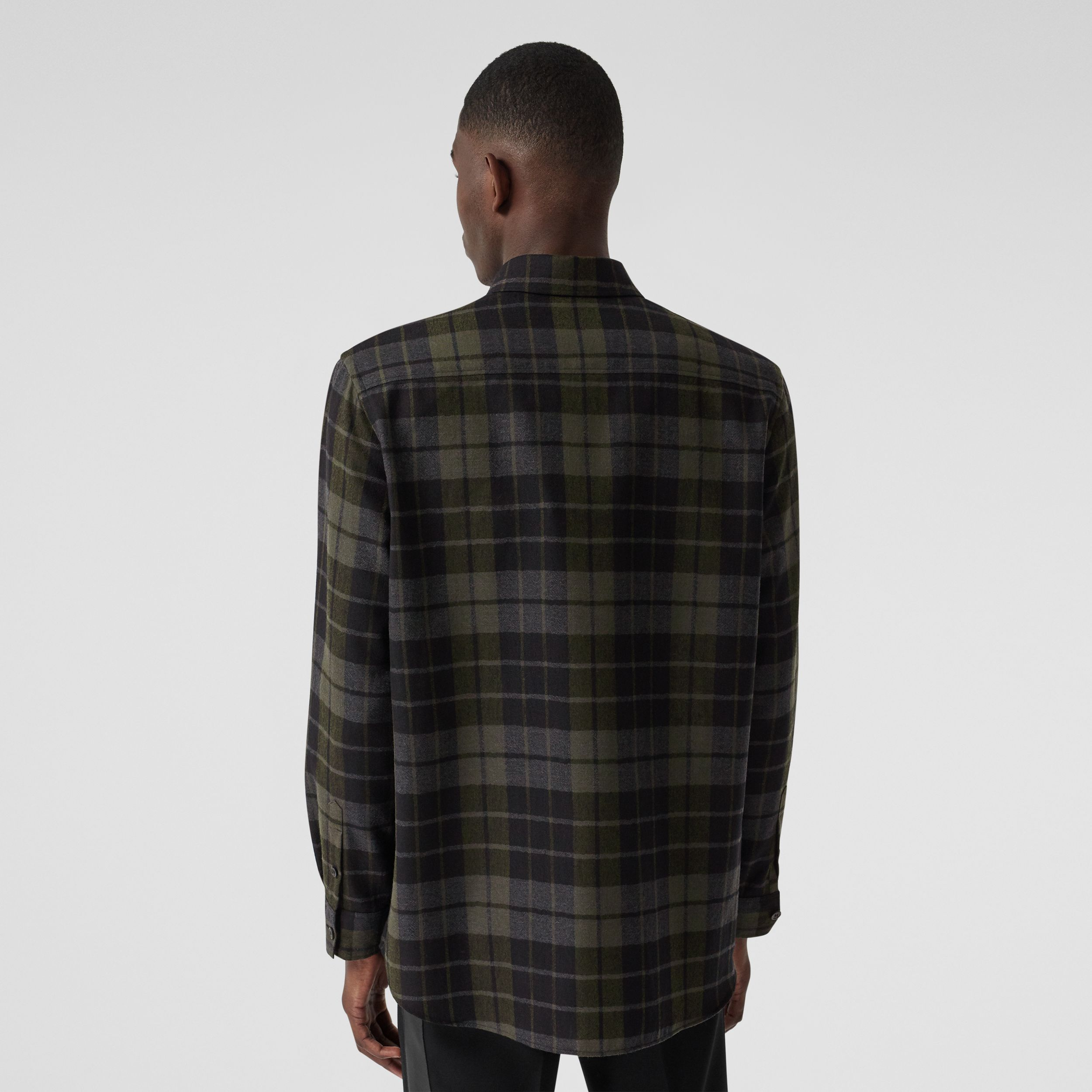 Monogram Motif Check Wool Flannel Oversized Shirt in Black - Men | Burberry Australia - 3